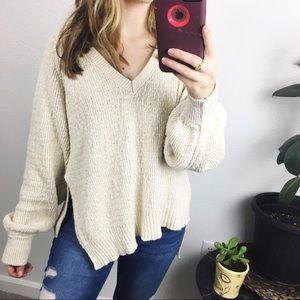 Free People oversized v neck sweater